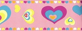 Faixa De Parede Corações Rosa E Colorido - Kawayi - Importado Lavável...