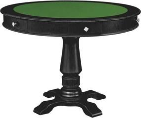 Mesa de Jogos Carteado 4 Lugares Victoria Redonda Tampo Reversível com Gavetas e Porta Copos Preto Fosco - Gran Belo