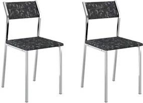 Kit 2 Cadeiras 1709 Cromado/Fantasia Preto - Carraro