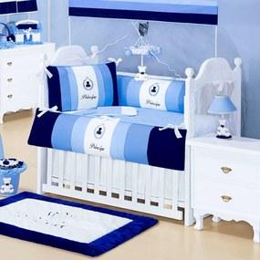 Kit Berço 8 Peças Talismã Confecções Urso Rei Azul