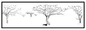 Quadro Decorativo Figurativo Arvore da Vida Caule e Folhas Preto e Branco - CZ 44058