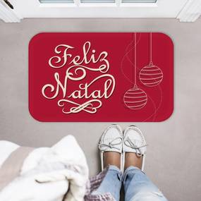 Tapete Decorativo Mdecore Feliz Natal Vermelho -40x60cm
