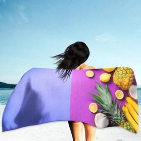 Toalha de Praia / Banho Frutas Tons Roxos Único