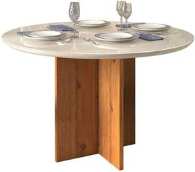 Mesa de Jantar Aura Tampo Redondo para 4 Cadeiras 103cm Rústico Terrara Off White