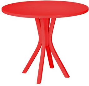 Mesa de Jantar Felice com Tampo Redondo Vermelho em MDF Laqueado