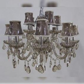 Lustre Lilás Clássico 15 Cúpulas Gotas de Cristal Lapidado
