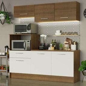 Cozinha Compacta Madesa Onix 180001 com Armário e Balcão Marrom