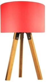 Abajur de Mesa Tripé | Madeira de Cedro | Cúpula de Tecido Vermelho | Tam: 58x29cm | Mod: Eros
