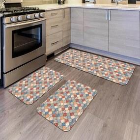 Kit com 3 Tapetes de Cozinha Mdecore Abstrato ColoridoÚnico