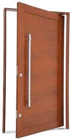 Porta Pivotante Lambris Horizontais com Puxador Alumínio Madeira 243,5x146,2x12cm Esquerda Aluminium - 72463129 - Sasazaki - Sasazaki