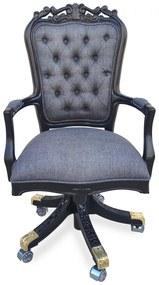 Cadeira com Braço Giratória Luís XV Capitonê Design de Luxo Peça Artesanal