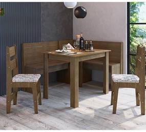 Conjunto Completo Canto Alemão, Mesa E 2 Cadeiras Mdf - Ameixa Negra
