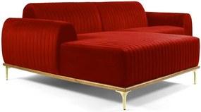 Sofá 4 Lugares com Chaise Base de Madeira Euro 265 cm Veludo Vermelho - Gran Belo