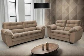 Conjunto De Sofá Macio Com Fibra Premium 3 E 2 Lugares Tecido Suede Marrom Castor