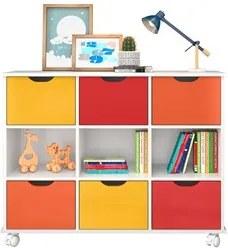Nicho Organizador com Rodízios Toys 6 Gavetas Q01 Branco/Colorido - Mp