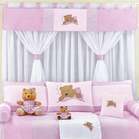 Cortina Quarto de Bebê Urso Rosa