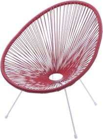 Cadeira Acapulco Vermelha Com Cordas de PVC - Base Aço