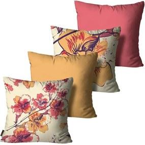 Kit com 4 Almofadas Premium Cetim Mdecore Floral Colorida45x45cm