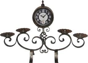 Relógio com Castiçal em Ferro com Acabamaneto em Prata