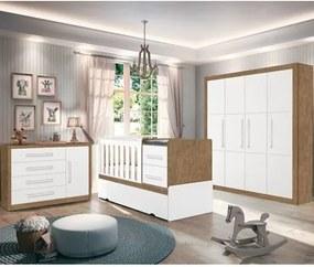 Quarto Infantil Affetto e Berço Premium Amêndoa/Branco - Planet Baby