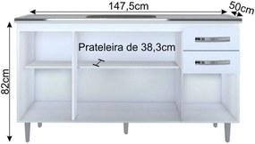 Armário Aéreo Parma e Balcão Gabinete de Pia Lisboa 150cm Branco - Lumil Móveis