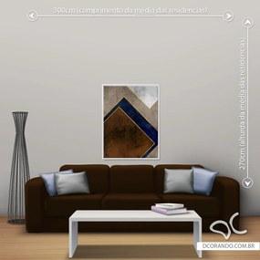 Quadro Geométrico Marrom e Dourado - Médio 86cm x 65cm, Tela + Moldura Branca