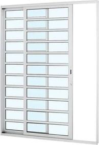 Porta de Alumínio de Correr Alumifort Branca com Divisão 2 Folhas Abertura Esquerda 216x160x8,7 - Sasazaki - Sasazaki