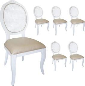 Jogo 6 Cadeiras Medalhão Lille - Branco - Tecido Facto Pérola / Palha Branca Provençal Kleiner Schein