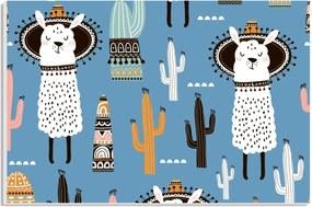 Placa de Bancada Decorativa Lhamas e Cactos Fundo Azul 20x30 cm