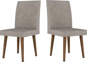 Kit com 2 Cadeiras Jade Pé Palito Pena Caramelo - RV Móveis