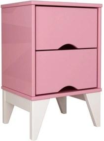 Criado-Mudo 2 Gav. Twister Quartzo Rosa Tcil Móveis