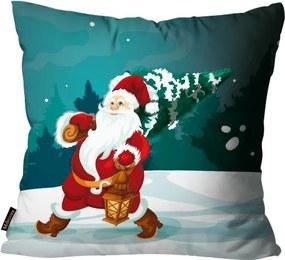 Capa para Almofada Premium Cetim Mdecore Natal Papai Noel Verde45x45cm