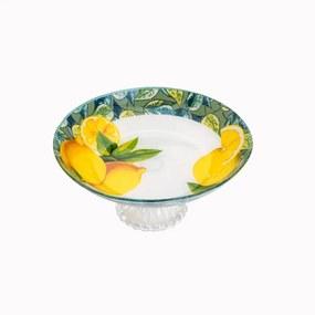 Centro De Mesa Com Pé De Vidro Lemons Amarelo 26cm 35430 Bon Gourmet