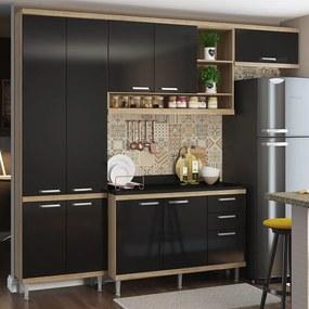 Conjunto Cozinha Completa Braga 4 Peças (L: 260cm) C/ Balcão 2 Portas