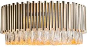 Plafon Sobrepor Metal Cristal Dourado
