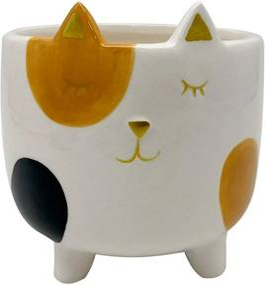 Cachepot Vaso Decorativo de Cerâmica Gato Malhado Grande