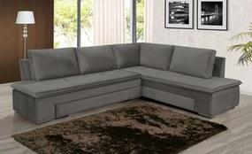 Conjunto Estofado Sofa Cama Imperium 6 Lugares Tecido Suede Liso Cinza - Hellen