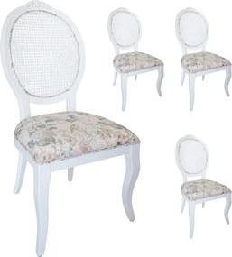 Jogo 4 Cadeiras Medalhão Lille - Branco - Tecido Floral Aurora / Palha Branca Provençal Kleiner Schein