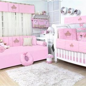 Quarto Completo Sem Cama Babá Padroeira Baby Princesa Luxo Rosa