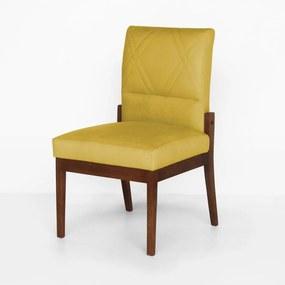 Cadeira De Jantar Aurora Base Madeira Maciça Estofada Suede Amarelo
