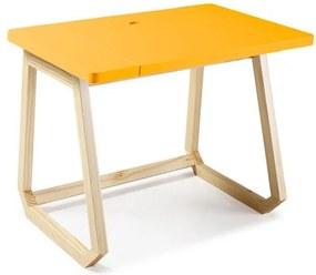 Escrivaninha com Tampo Deslizante Hush - Natural/ Laca Amarelo