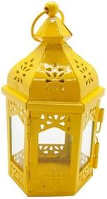 Lanterna Marroquina Hexagonal Amarelo em Metal e Vidro - Urban