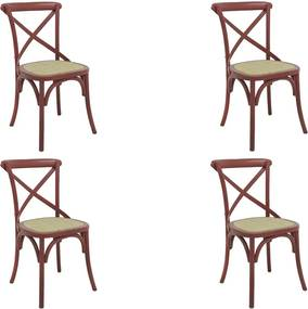 kit 4 Cadeiras Decorativas Sala De Jantar Cozinha Danna Rattan Natural Vermelha - Gran Belo