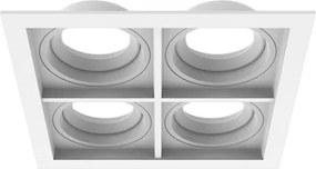 Plafon Embutir Quádruplo Alumínio Branco Par20 E27 Quadra