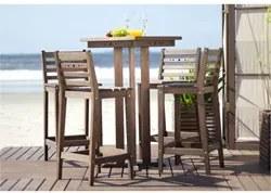 Conjunto de Mesa de Bar com 4 Banquetas Altas em Madeira Nogueira - Mã