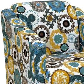 Poltrona Decorativa Tilla RecepçÁo Tecido Estampado Floral Verde D24 - D'Rossi