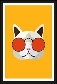 Quadro com Gato de Óculos Vermelho em Fundo Amarelo com Moldura Preta 40x60cm