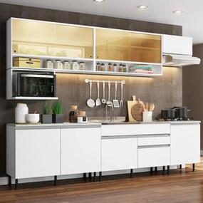 Cozinha Completa Madesa Verona com Armário e Balcão (Sem Tampo, Pia e Rodapé) Branco Cor:Branco