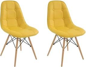 Kit 2 Cadeiras Decorativas Sala e Escritório Cadenna (PU) Amarela - Gran Belo
