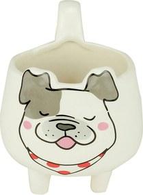 Cachepot Cerâmica Tongue Bulldog Branco